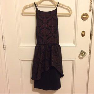 Asymmetric Mini Dress with Metallic Print